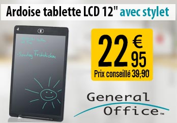 "Ardoise tablette LCD 12"" avec stylet - General Office - NC7482"