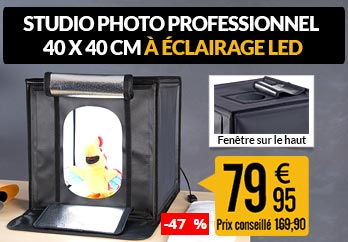 Studio photo professionnel 40 x 40 cm à éclairage LED 40 W / 2400 lm - PX2324